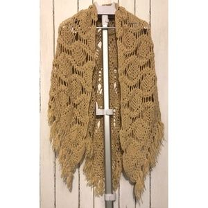 Bohemian Hand-Knit Fringe Shawl